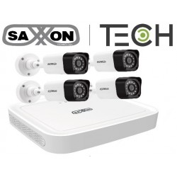 KIT SAXXON DVR DE 4 CANALES 1080P LITE 4 CAMARAS 720P ANGULO DE VISION 92° EXTERIOR IP66