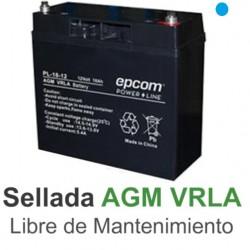 BATERÍA PILA RECARGABLE EPCOM 12V 18AH PANEL SOLAR CCTV