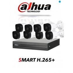 KIT DAHUA DVR PENTAHIBRIDO 8CH 8 CAMARAS BALA 1080P EXTERIOR P2P H256+